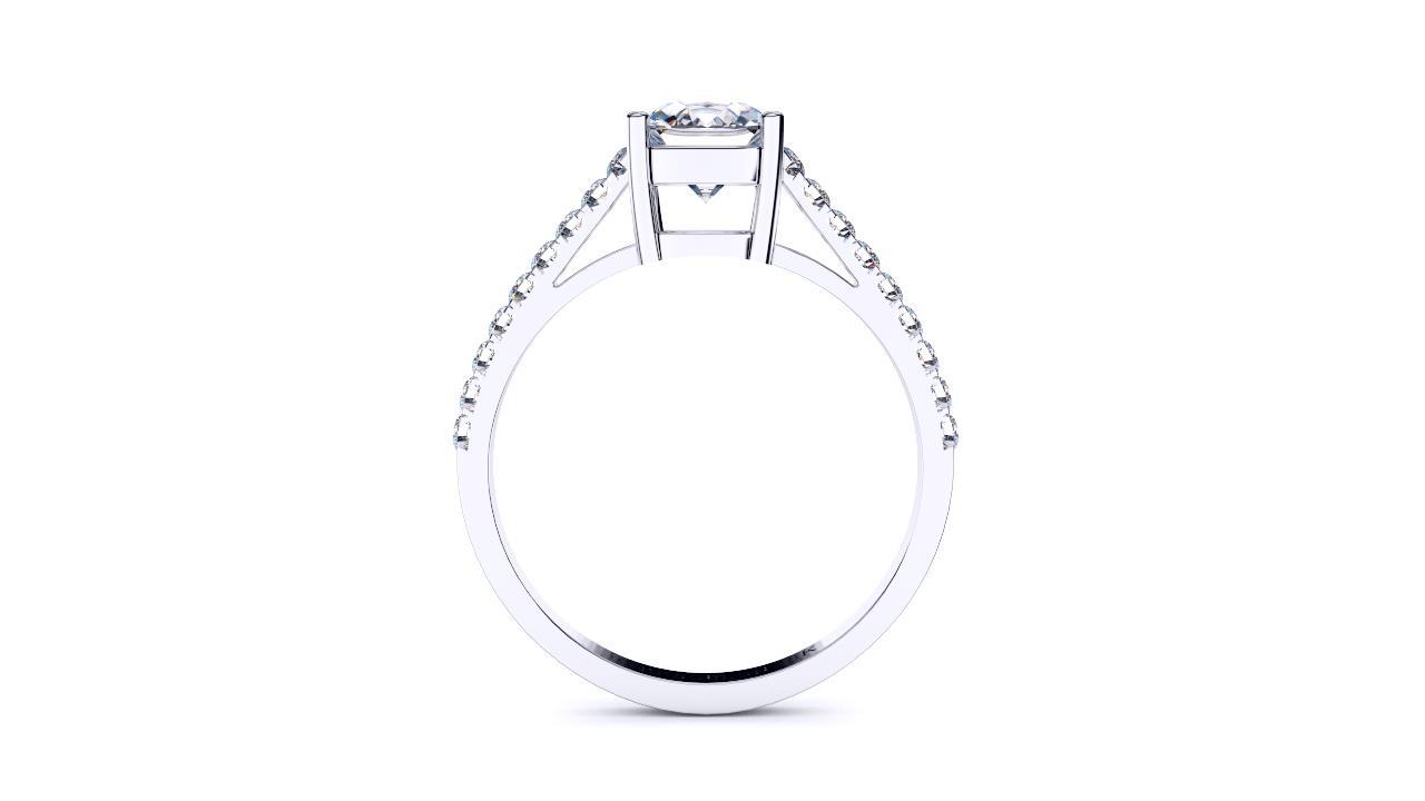 Sydney diamond company cushion solitaire diamond band side view