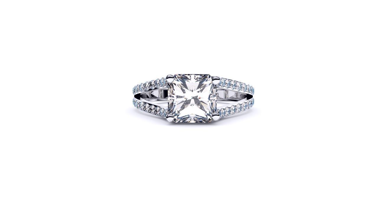 Sydney Diamond company radiant diamond with split shank engagement ring lay down view