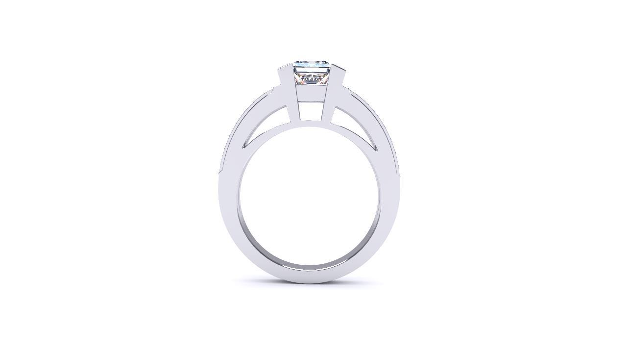 Sydney Diamond company princess cut diamond with split shank engagement ring front view