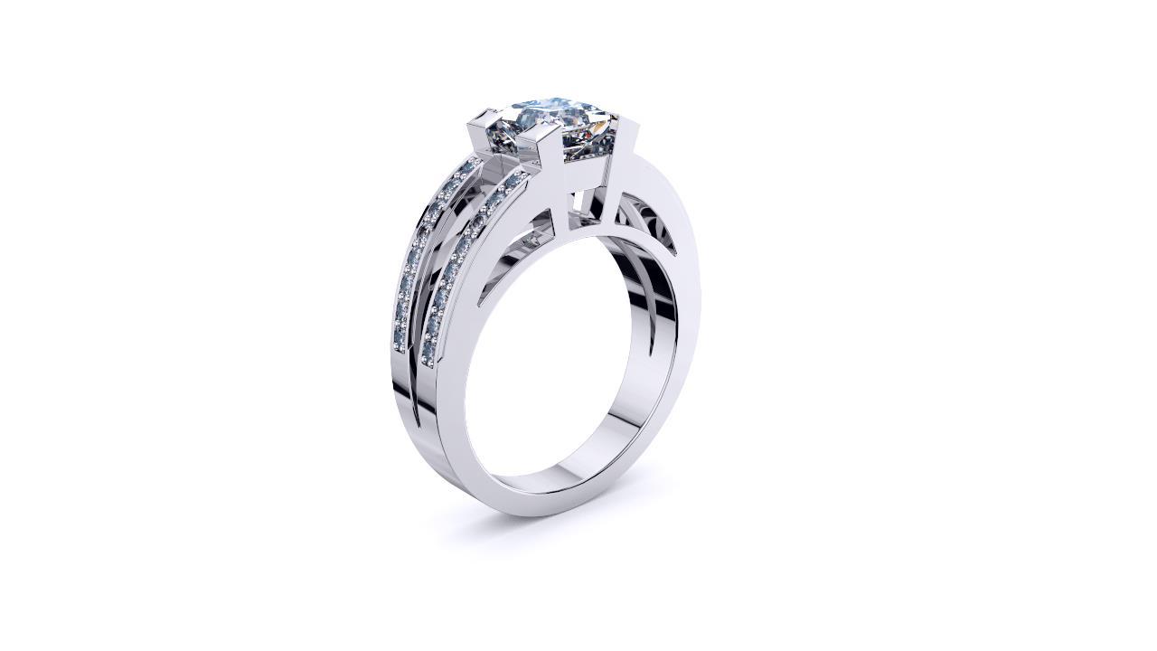 Sydney Diamond company princess cut diamond with split shank engagement ring ANGLE view