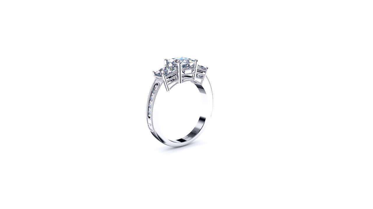 Sydney Diamond company three stone antique style princess cuts engagement ring angle view