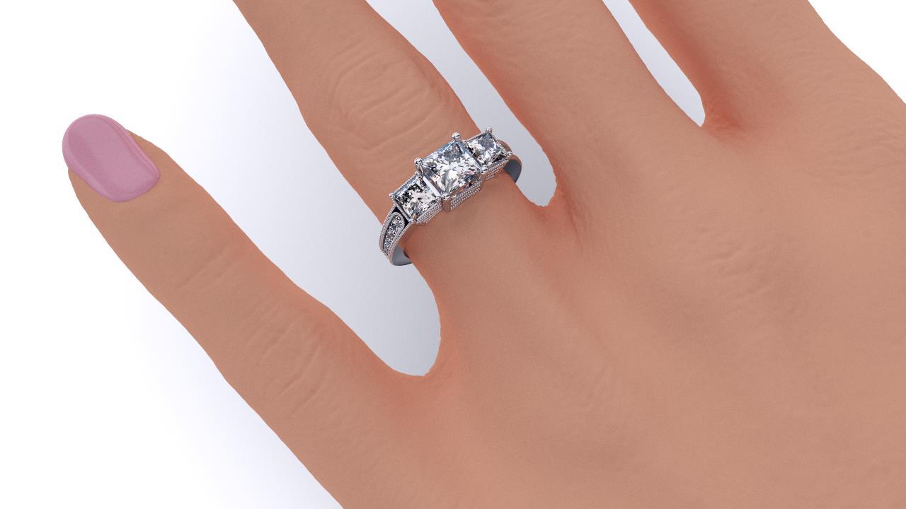 Sydney Diamond company three stone antique style princess cuts engagement ring hand view