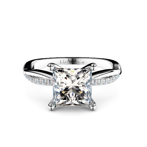 princess cut with twist diamond set band